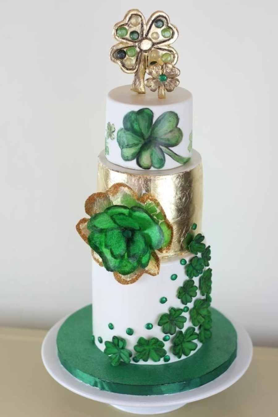 4 Leaf Clover 30Th Birthday Cake Modeling Chocolate Topper Made To Look Like Jewelry Fantasy Wafer Paper Clover On Side Fondant Details O on Cake Central
