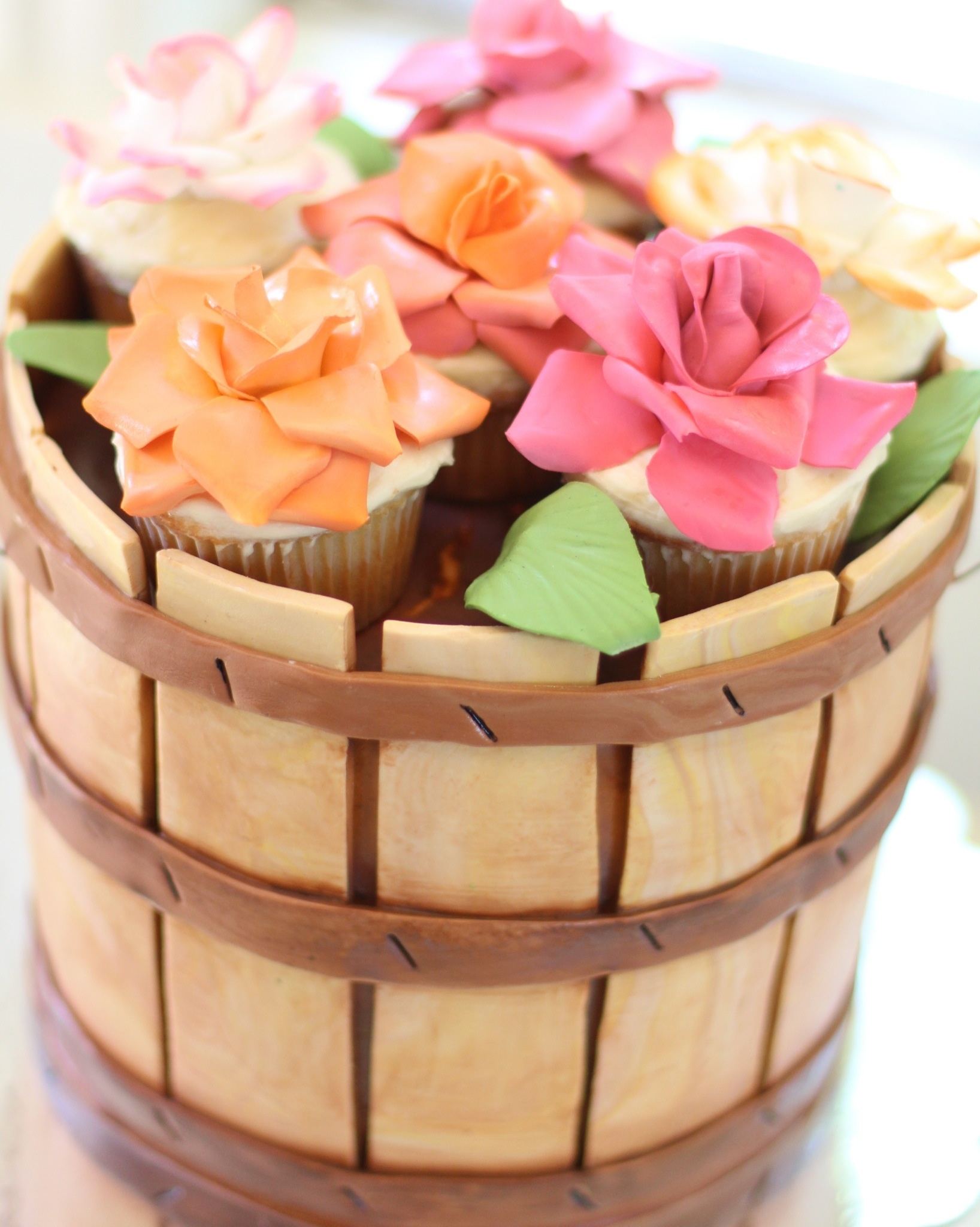 Wooden Basket And Flower Cupcake Cake Modeling Chocolate And Hand ...