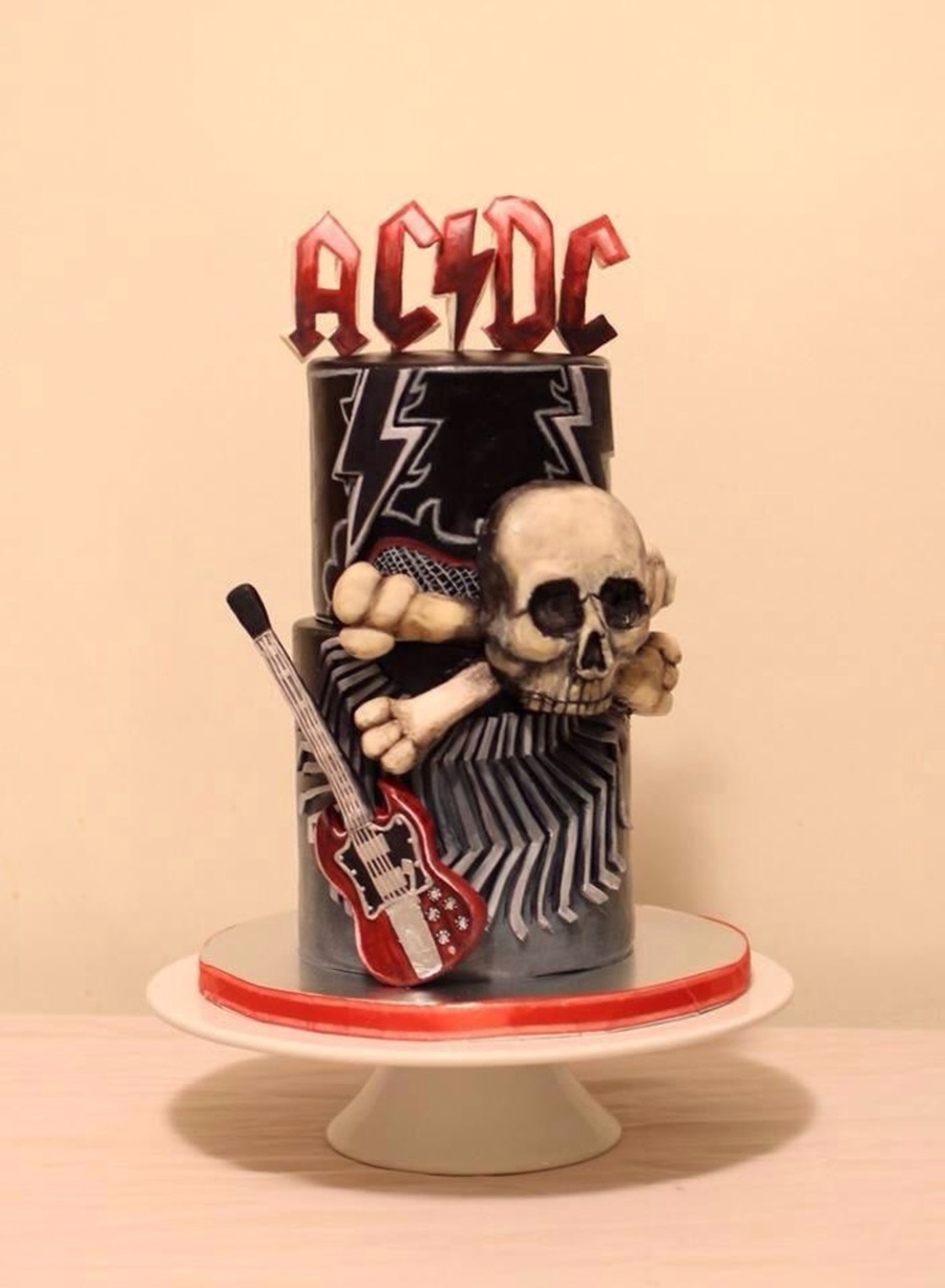 Acdc Themed Birthday Cake Modeling Chocolate Letters On