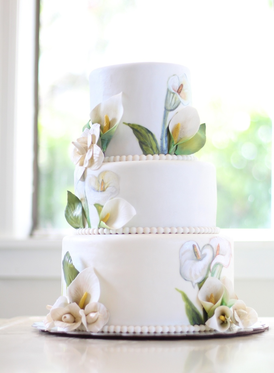 Lily 50th anniversary cake 3d sugar flowers as well as free hand lily 50th anniversary cake 3d sugar flowers as well as free hand painted lilys on each tier 100 servings cakecentral izmirmasajfo