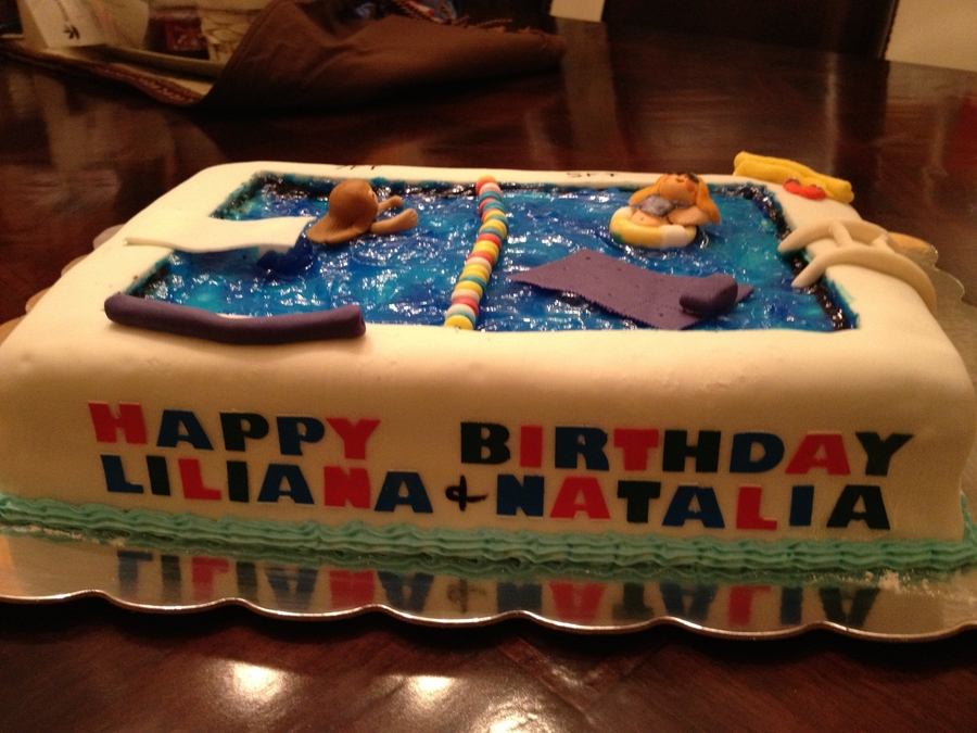 Astonishing Pool Party Birthday Cake For 5Yr Old And 7Yr Old Cakecentral Com Funny Birthday Cards Online Barepcheapnameinfo
