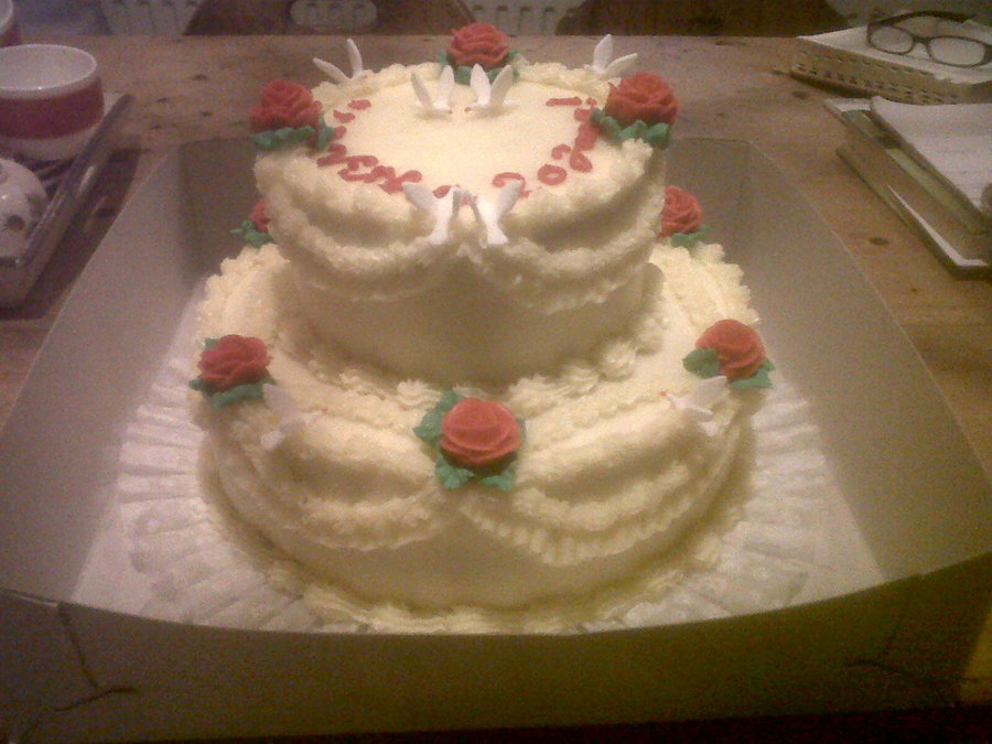 Traditional Birthday Cake With Fondant Doves Cakecentral