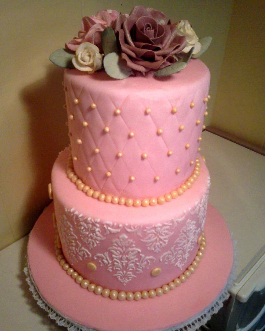 Pink And Gold Wedding Cake  on Cake Central
