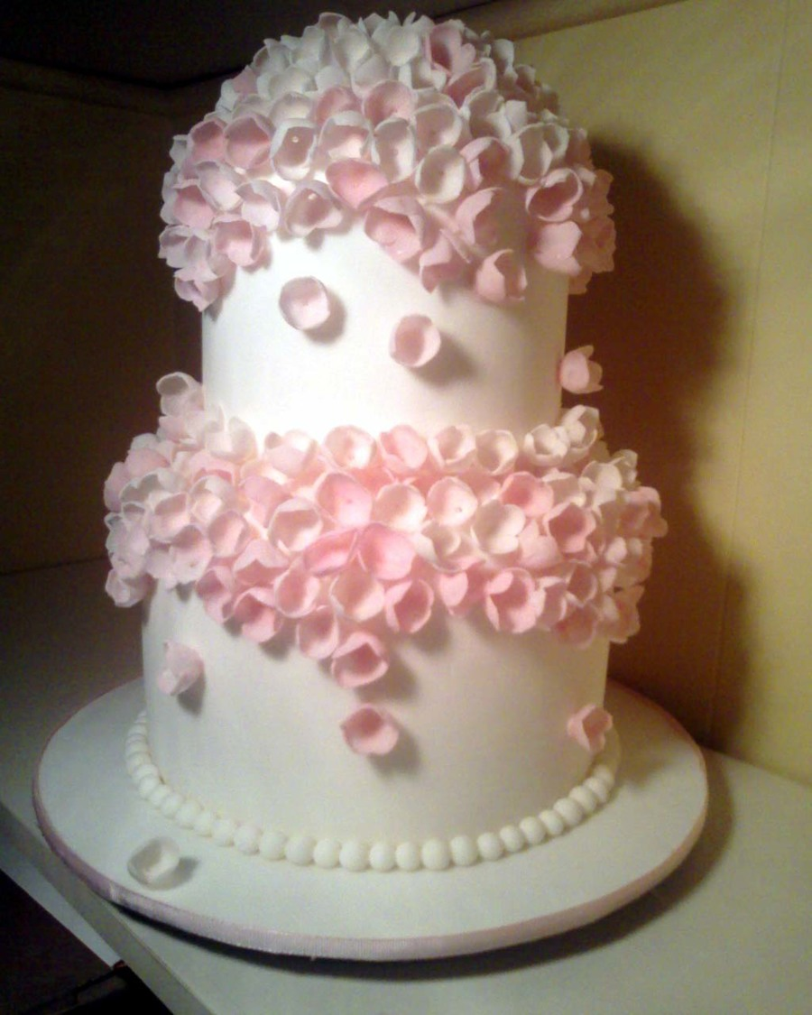 Pink Flower Wedding Cake on Cake Central
