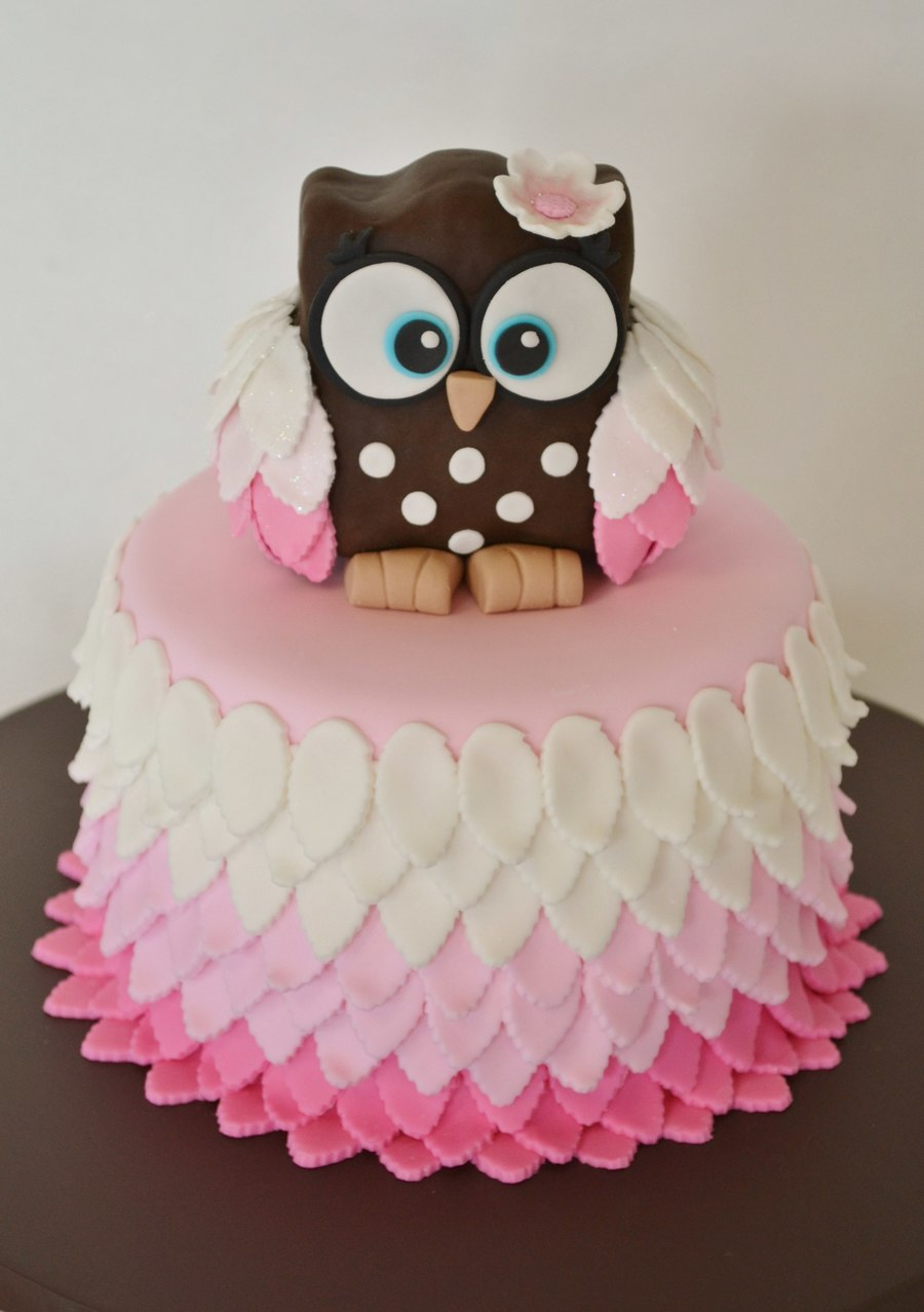Cute Owl Baby Shower Cakes