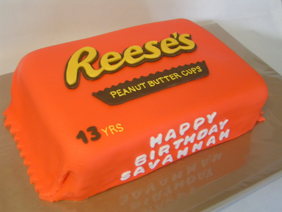 Reeses Peanut Butter Cup Fondant Covered Cake Choc Cake And Pb Buttercream On The Inside on Cake Central