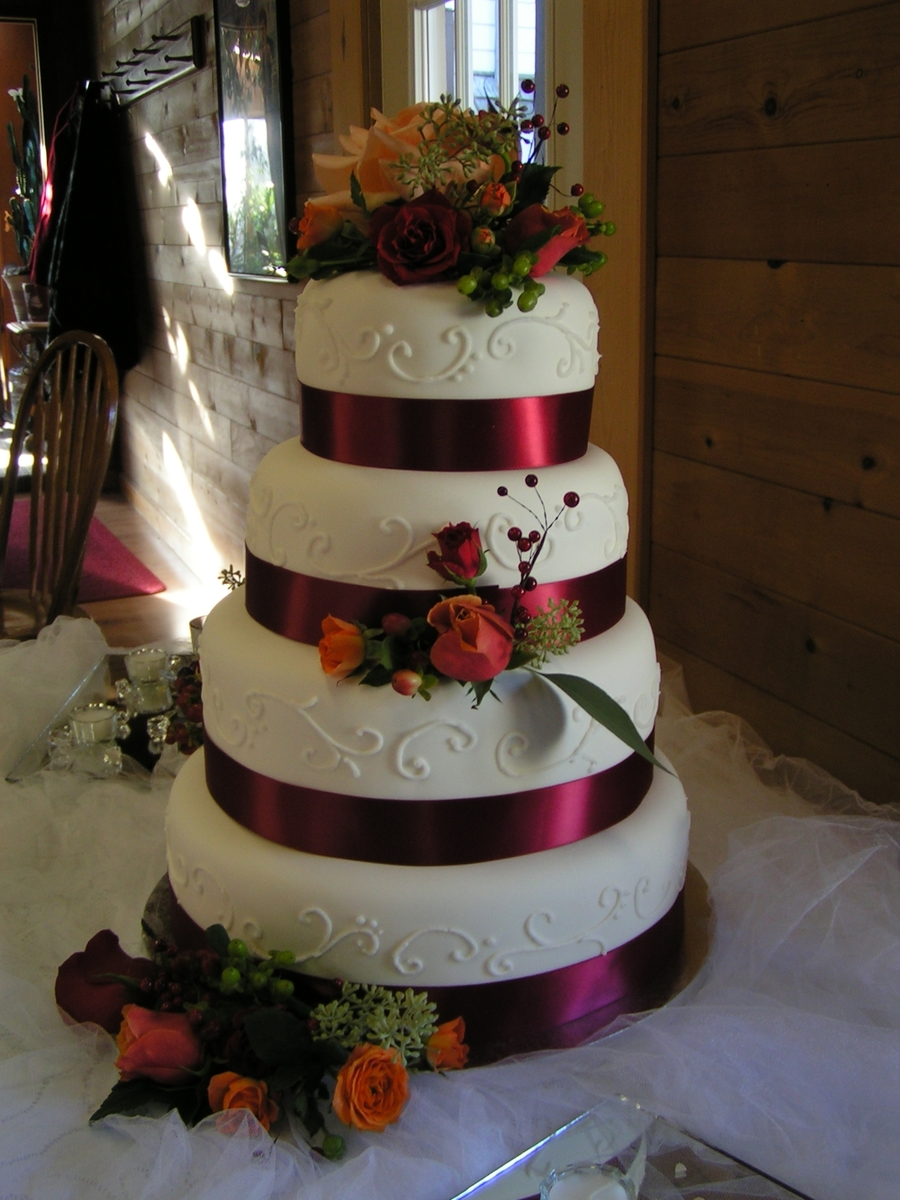 Fondant Wedding Cake on Cake Central