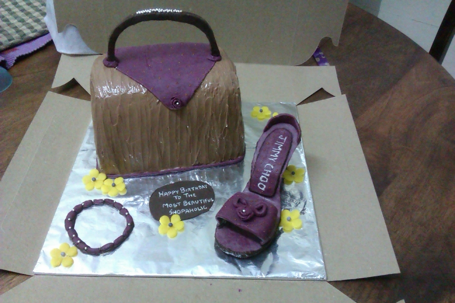 Purple Shoe And Chocolate Purse Cake on Cake Central