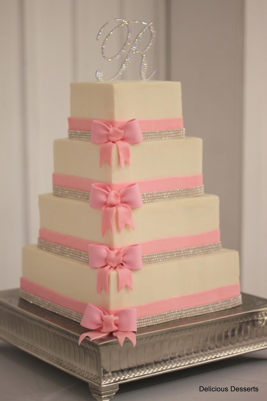 Crystal Amp Pink Wedding Cake Cakecentral Com