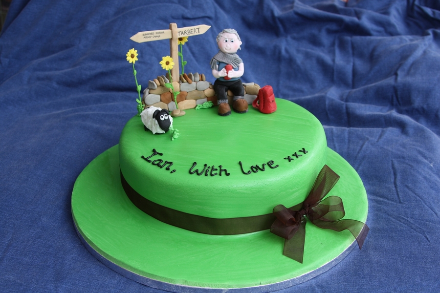 I Was Asked To Make A Cake For An 80 Year Old Male Who Likes Walking Include Rucksack Sunflowers And Certain UK Towns