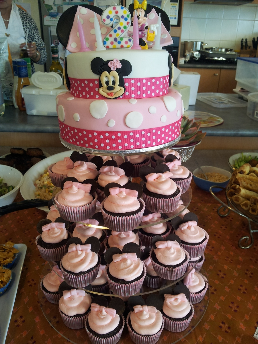 Fantastic Minnie Mouse Cupcake Tower Cakecentral Com Funny Birthday Cards Online Inifofree Goldxyz