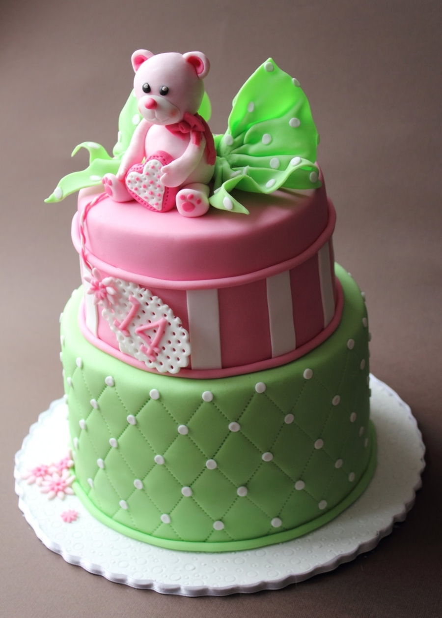 Pink And Green Bear Cake Cakecentral