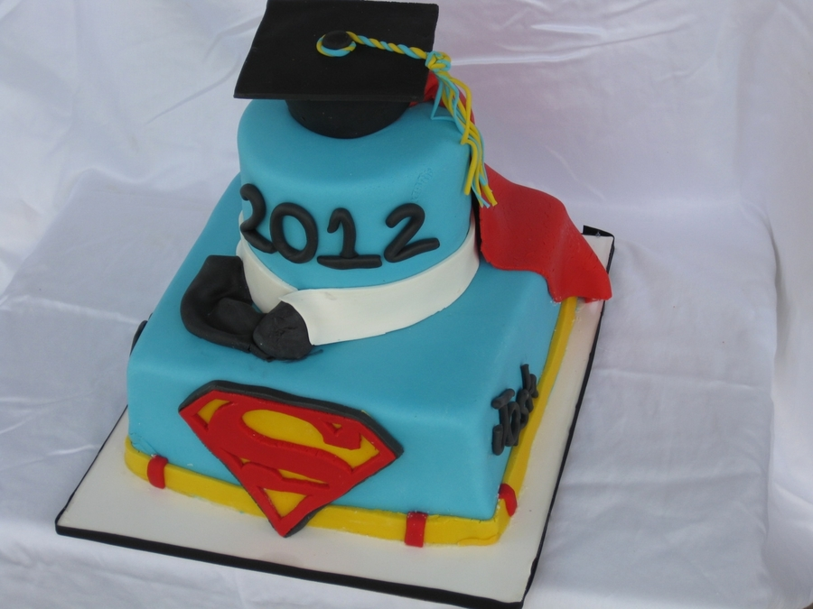 Superman Lover Graduation Cake on Cake Central