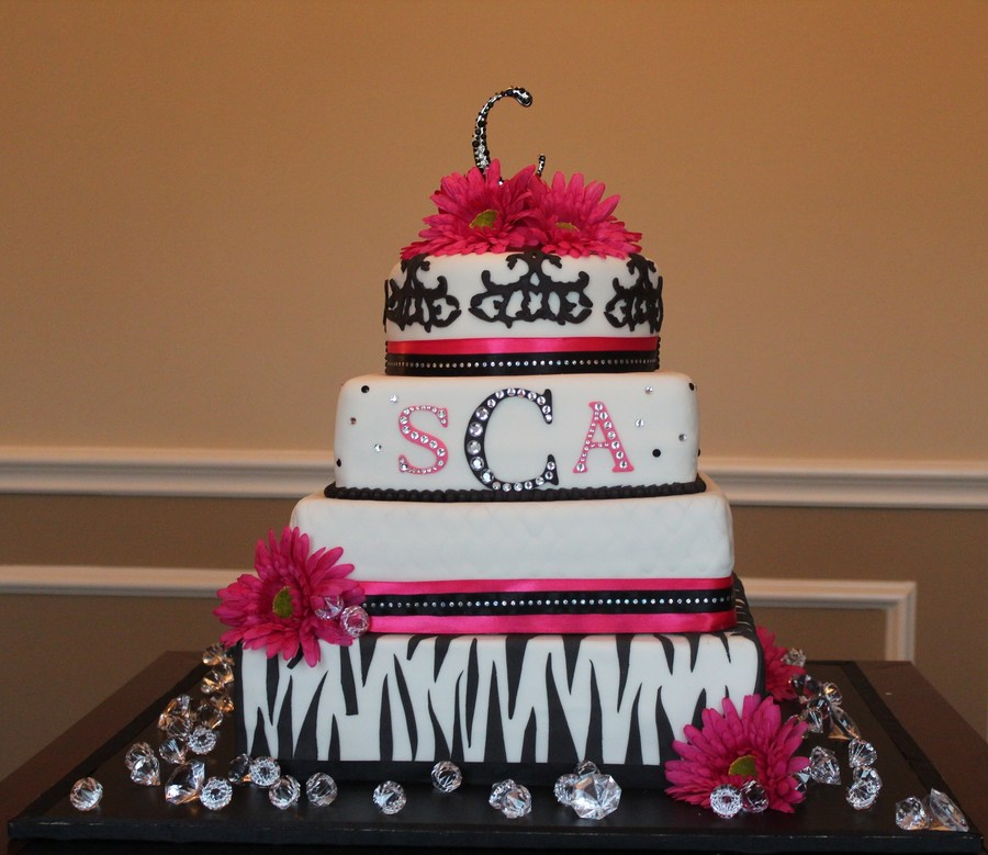 pink and black wedding cakes zebra pink and black wedding cake cakecentral 18534