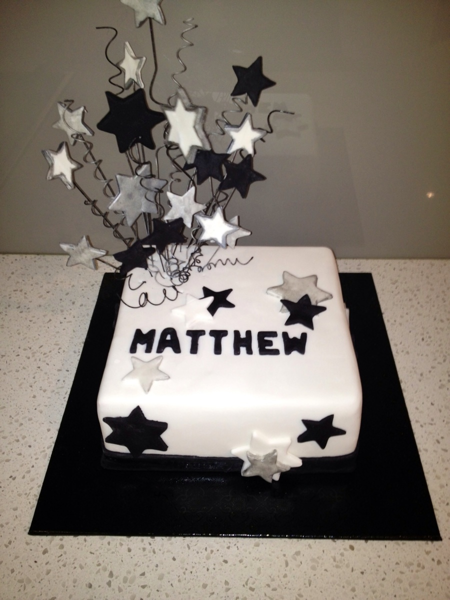 Birthday Cake Male Star White Black Amp Silver Theme