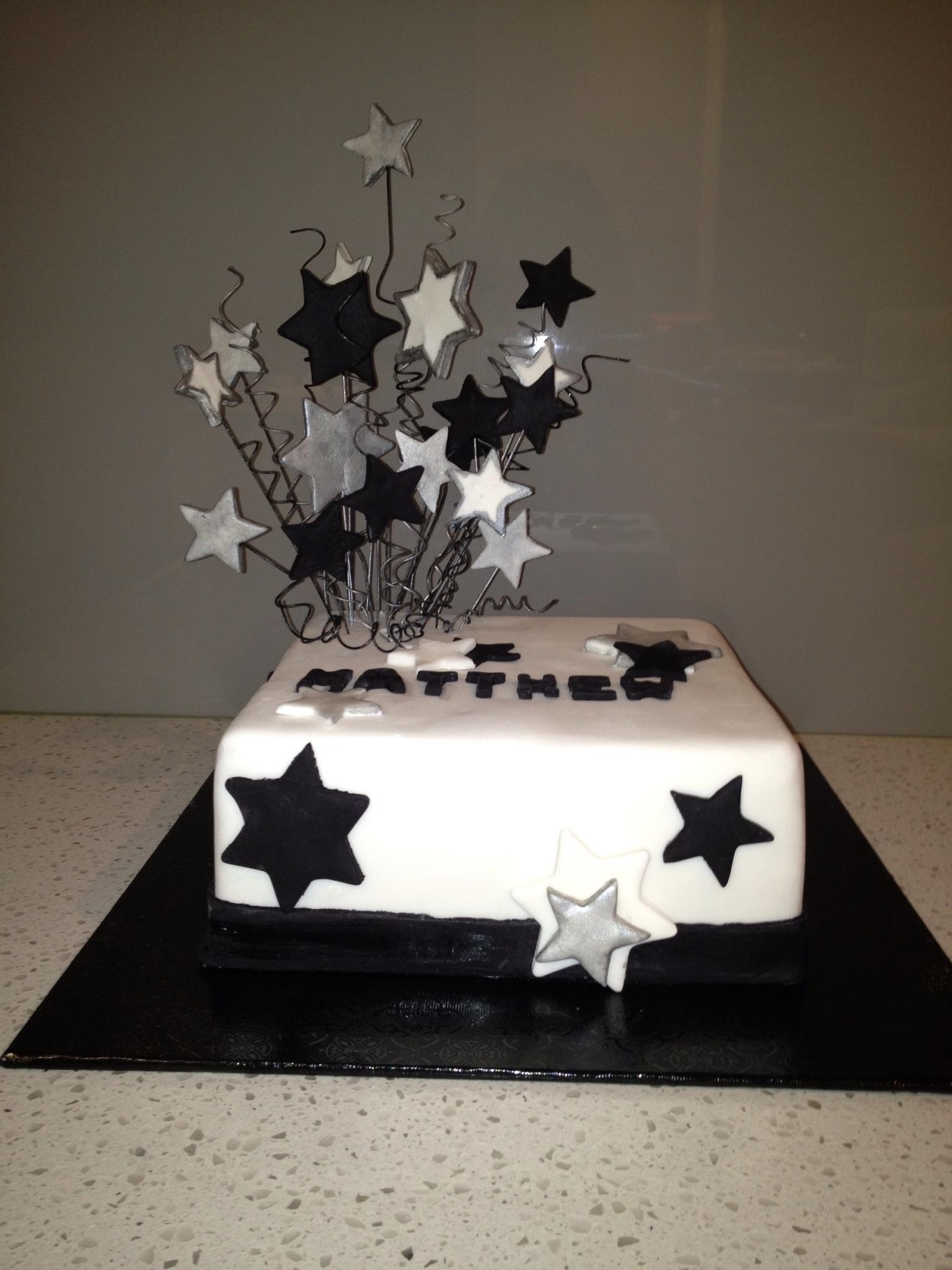 Birthday Cake Male Star White Black Amp Silver Theme