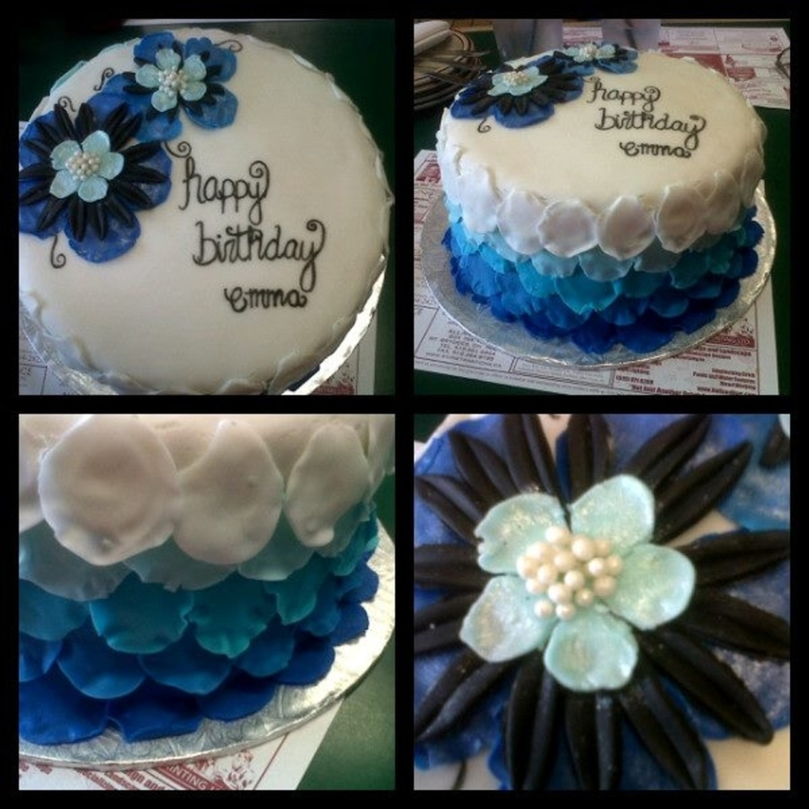 Blue Ombre Petal Cake on Cake Central