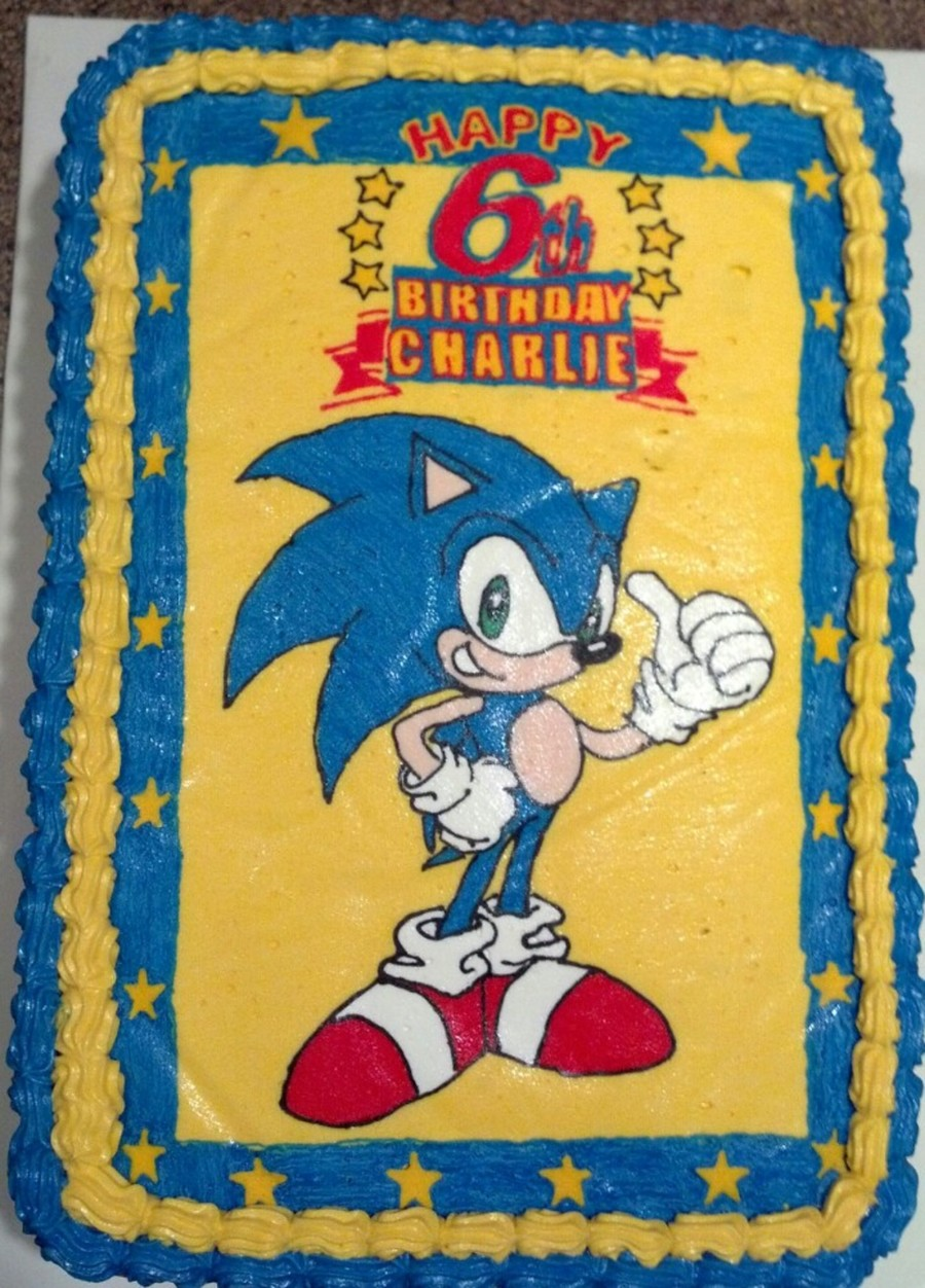 Sonic 2 Layer Chocolate Quarter Sheet With Chocolate Buttercream Filling I Made This For My Sons 6th Birthday Cakecentral Com