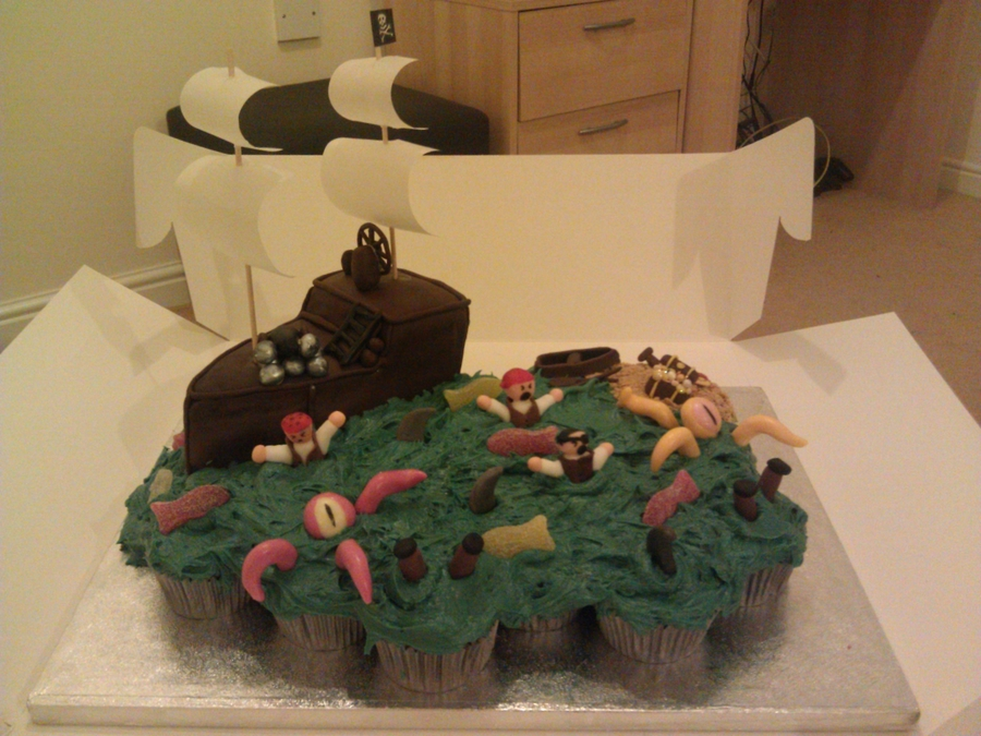 Pirate Ship Cake & Cupcakes on Cake Central