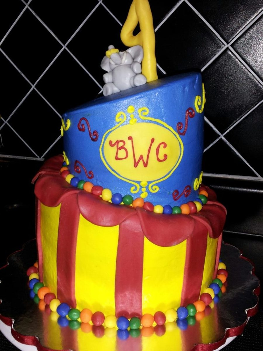 Circus Topsy Turvy Cake Modeling Chocolate Elephant Number Balls And Stripes on Cake Central