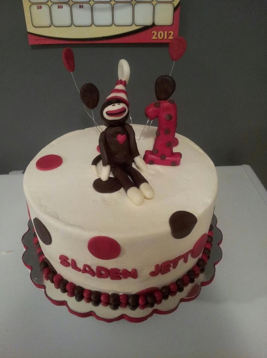 Sock Monkey Birthday Cake on Cake Central