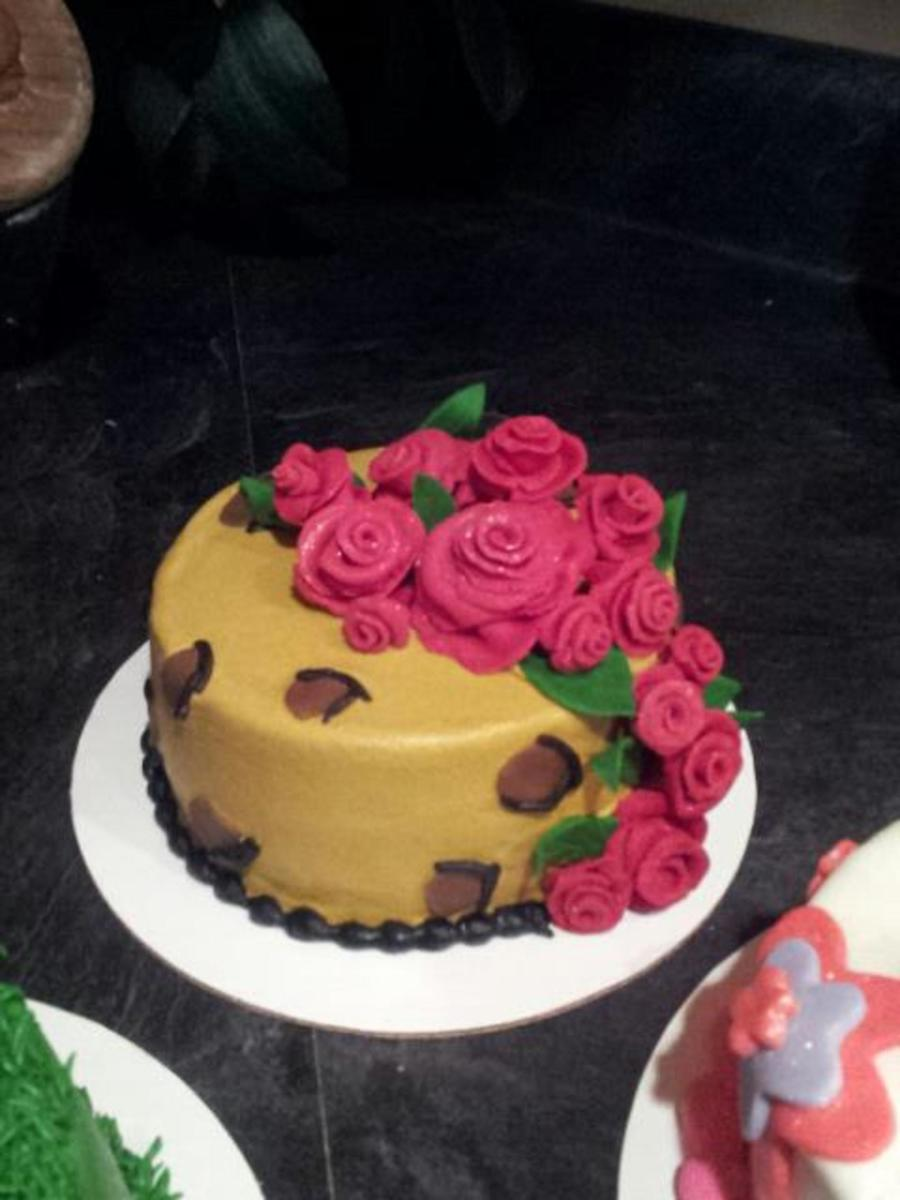 Leopard Buttercream Cake With Modeling Chocolate Print Roses And Leaves on Cake Central