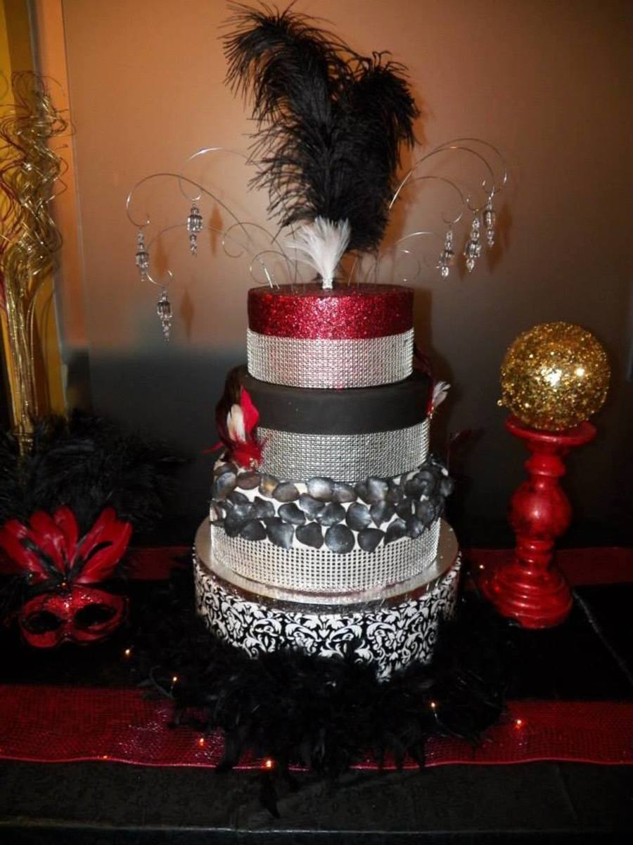 Red Black And Silver Birthday Cakes