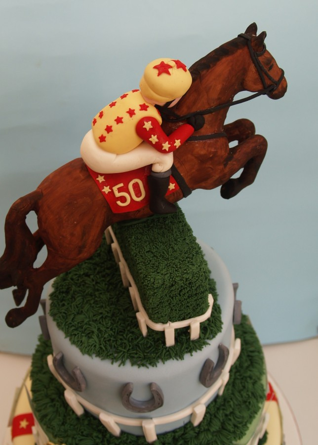 Horse Racing Themed Birthday Cake