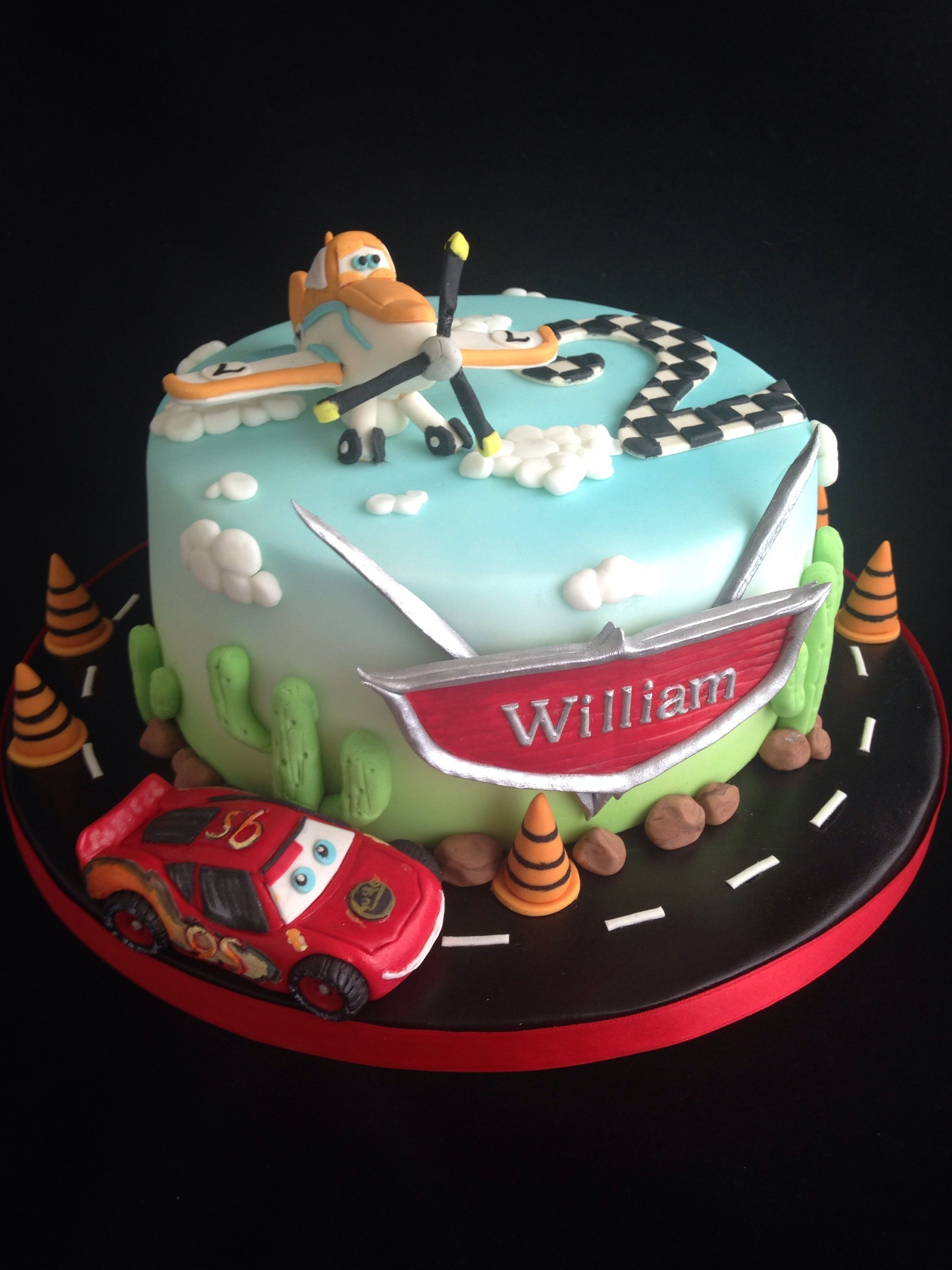 Lightning Mcqueen And Dusty Crophopper Birthday Cake X