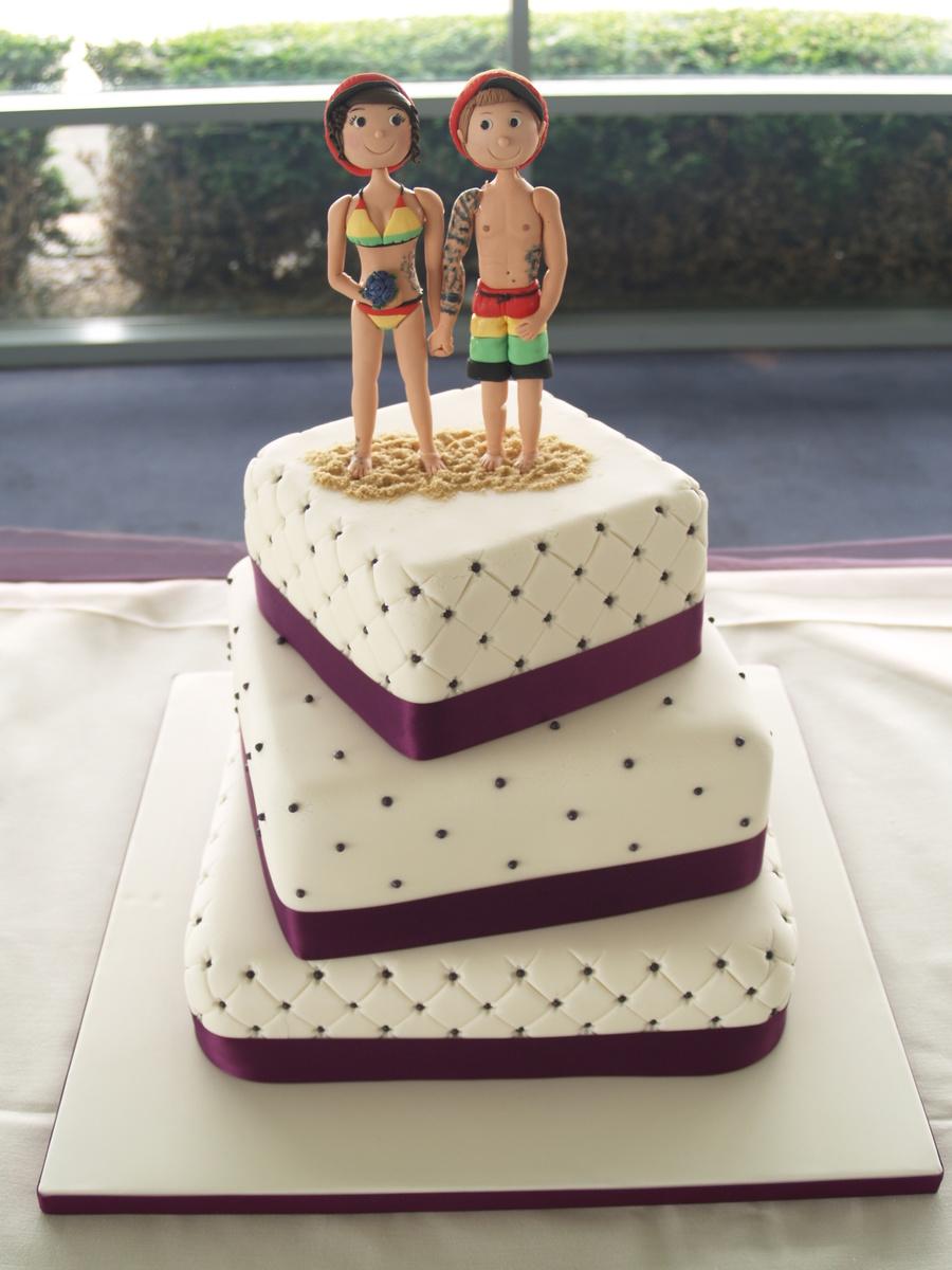 a fun wedding cake with a jamaican beach theme x. Black Bedroom Furniture Sets. Home Design Ideas