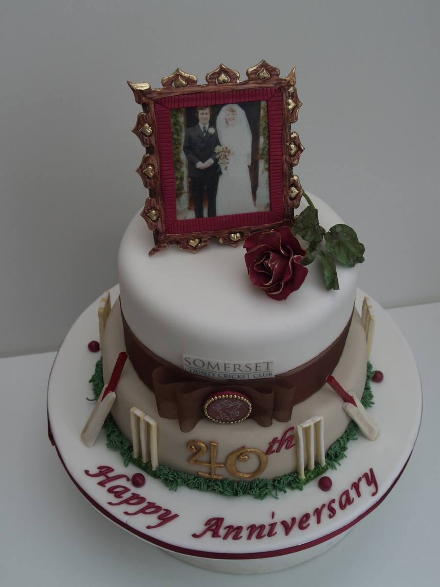 cricket themed 40th anniversary cake with edible picture