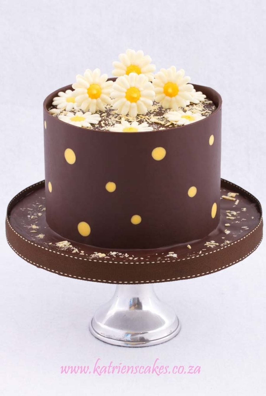 Dark Chocolate And Yellow Polkadot Collar With Chocolate Daisies on Cake Central