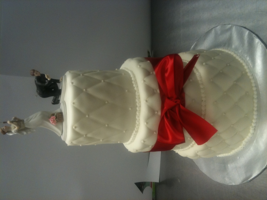 Quilted 3-Tier Wedding Cake  on Cake Central