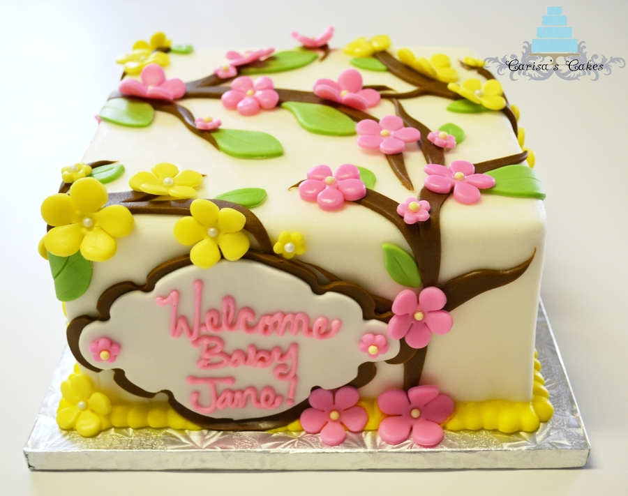 Cherry Blossom B Abyshower Cake on Cake Central