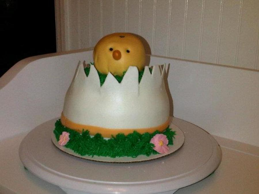 Egg With Chick Hatching Cake Egg And Rkt Chick Covered In Mmf  on Cake Central