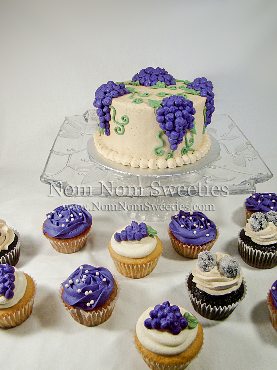 Vineyard Themed Wedding Cupcakes And Cutting Cake - CakeCentral.com