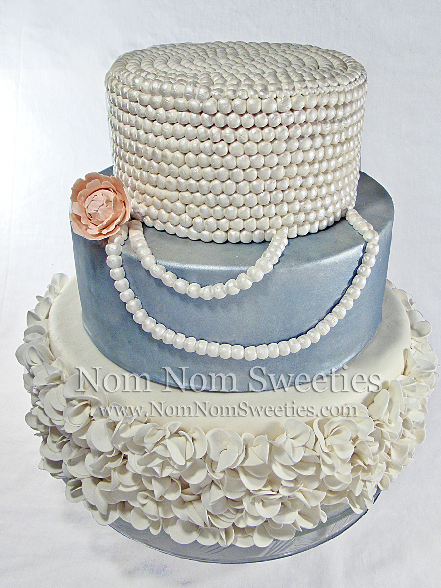 Ruffle And Pearl Cake on Cake Central