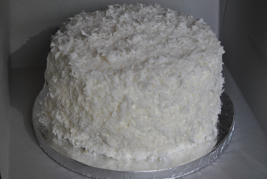 Yellow Cake With Coconut Buttercream And Coconut Shreddings on Cake Central