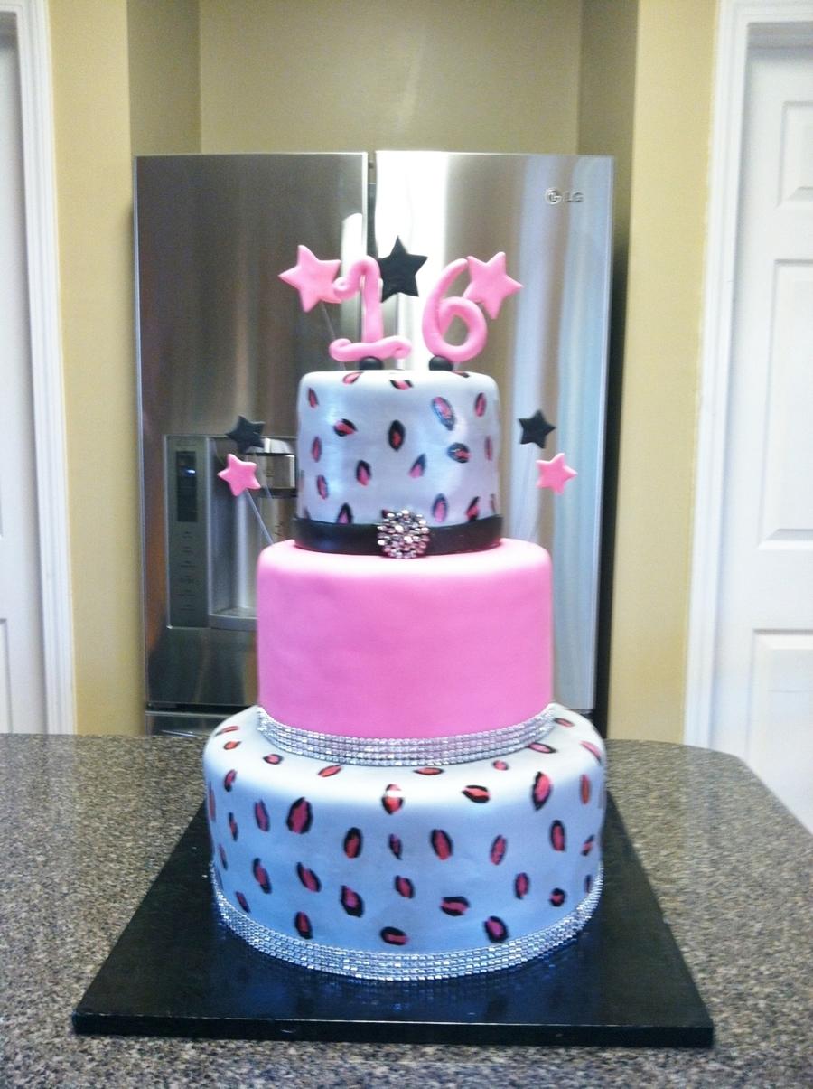 Pink And Silver Cheetah Cake on Cake Central