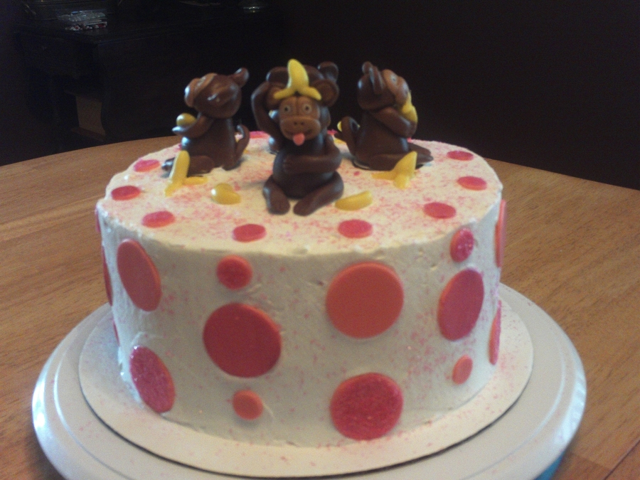 Monkeys And Polka Dots  on Cake Central