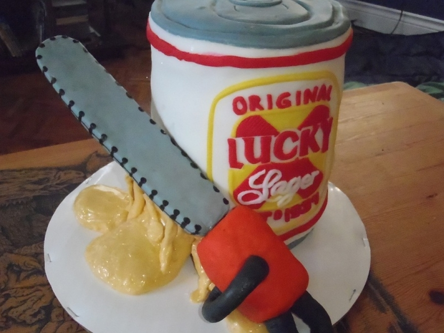Lucky Beer Chainsaw Cake on Cake Central