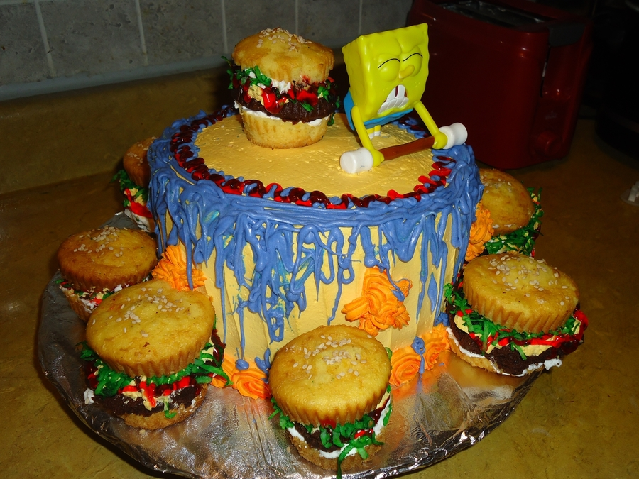 Spongebob Cake And Hamburgers on Cake Central