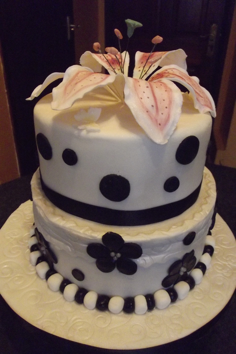 Gumpaste Lily Black & White Cake on Cake Central