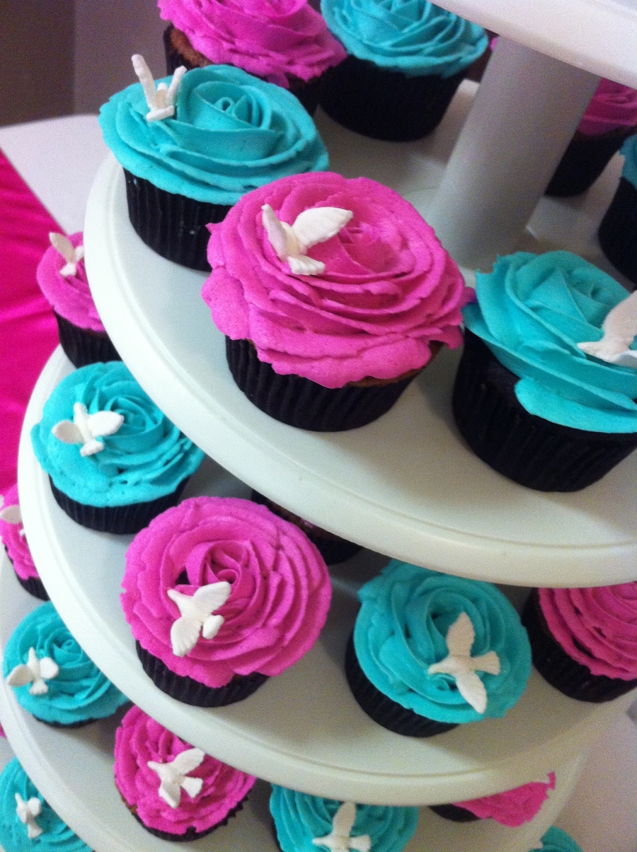 Fuchsia And Turquoise on Cake Central