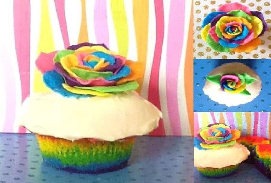 Rainbow Rose on Cake Central