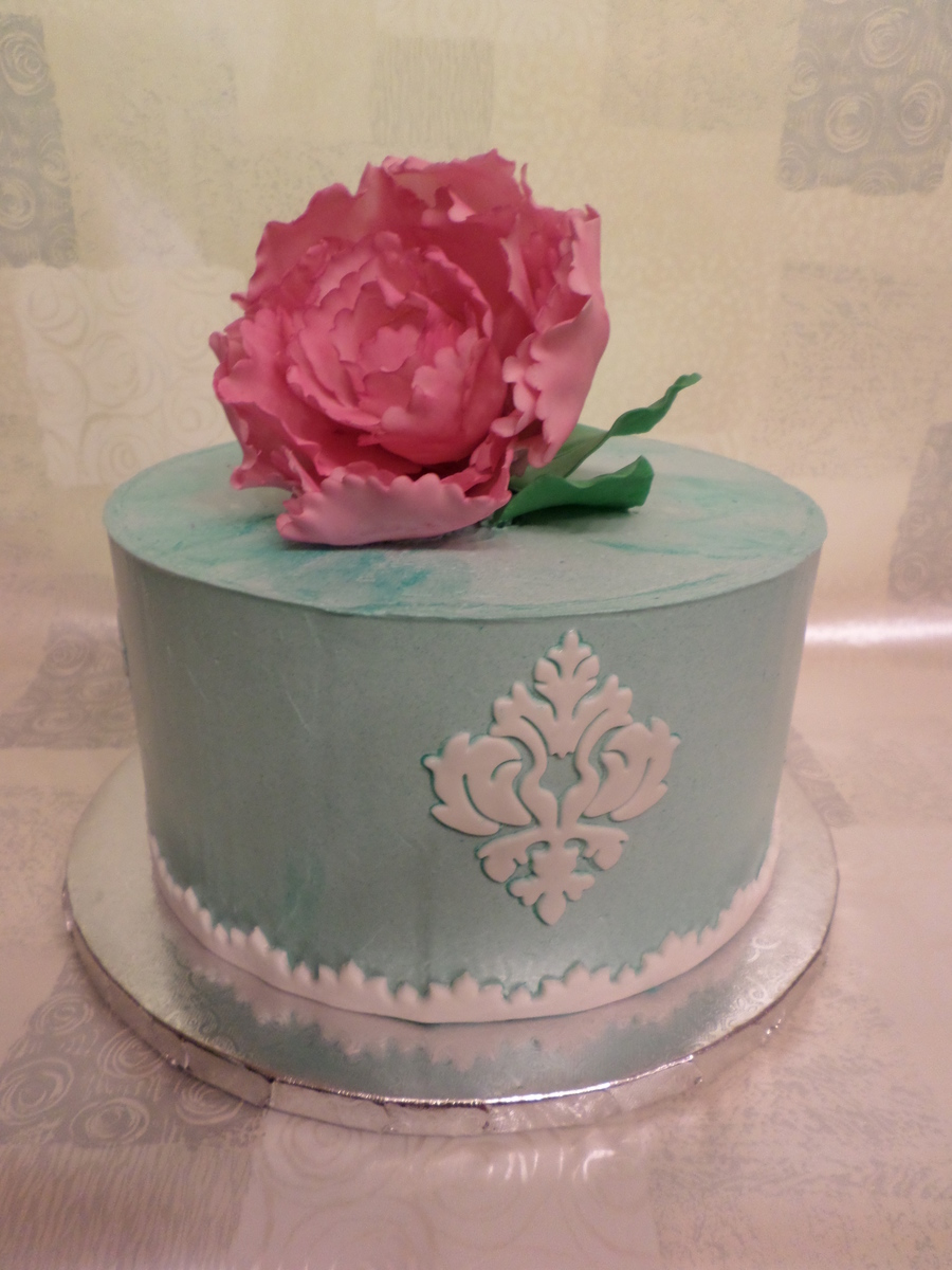 Birthday Cake For My Mom Smbc Fondant Damask Amp Border Amp