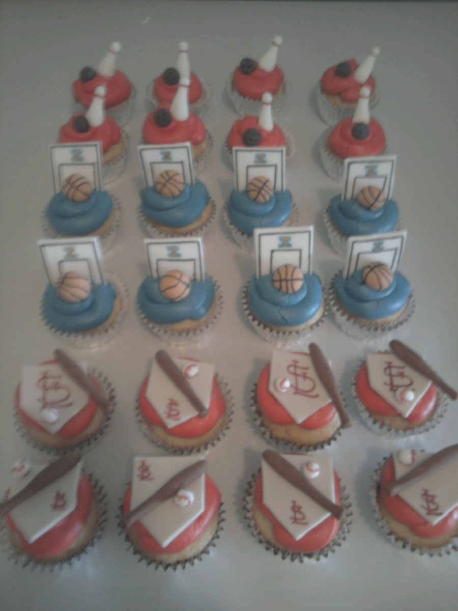 Baseball, Basketball, Bowling Cupcakes on Cake Central