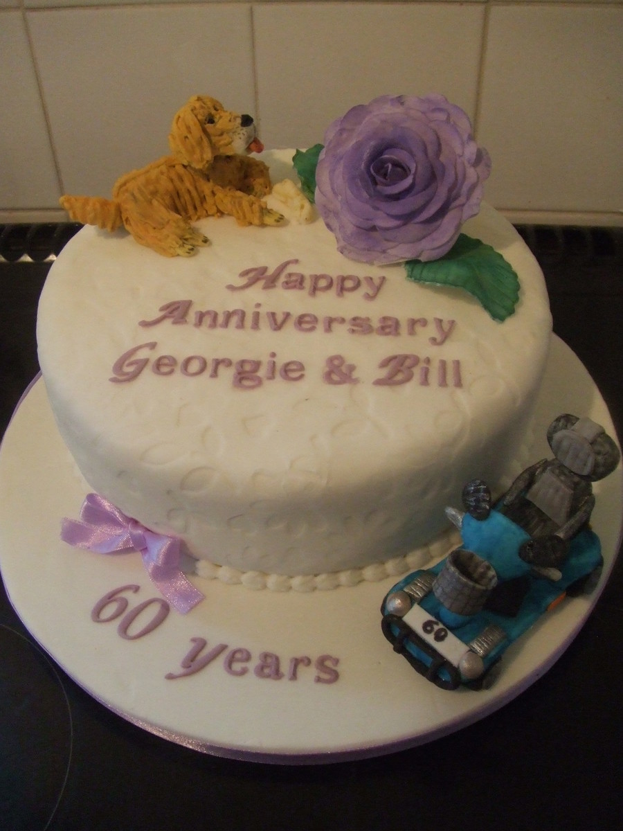 Bit Of A Strange Request For A Diamond Wedding Anniversary But Here It Is Mobility Scooter Family Dog And Mauve Rose on Cake Central