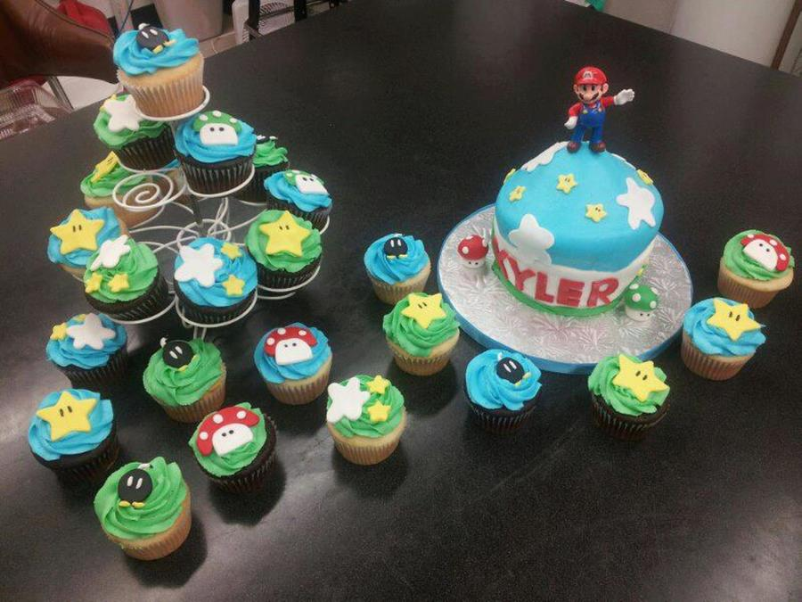 This Is A Super Mario Big Cupcake In Fondant And Buttercream With Cupcakes To Go With The Theme on Cake Central