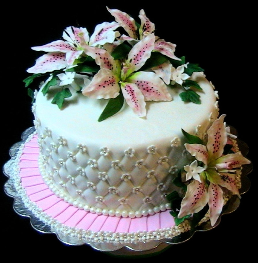 Pink White Lily Cake on Cake Central